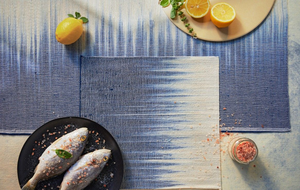 Set De Table Hibiscus Ikat Indigo